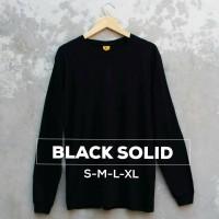 Baju Kaos Polos Lengan Panjang BLACK SOLID Hitam Cewek Cowok