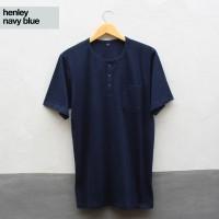 Baju Kaos Polos Tangan Pendek Saku Kancing / Henley Navy Biru dongker