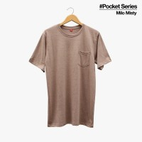 Baju Kaos Polos Lengan Pendek POCKET MILO MISTY Saku Coklat Muda