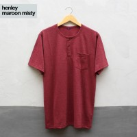 Baju Kaos Polos Tangan Pendek Saku Kancing / Henley Merah Maroon Misty