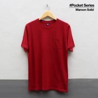Baju Kaos Polos Lengan Pendek POCKET MAROON SOLID Saku Merah Marun - S