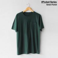 Baju Kaos Polos Lengan Pendek POCKET GREEN FOREST Saku Hijau Botol