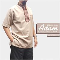 Baju Koko Adam Krem Kombinasi Batik