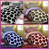 bedcover set sprei katun motif kulit sapi & big cow ukuran 90x200