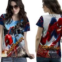 T-Shirt Kaos Wanita SPIDERMAN HOMECOMING 3D FullPrint 003