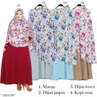 Gamis Syari Hijab Instan pet motif bunga