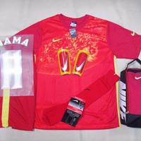 DISKON Setelan baju Futsal Bola Nike Galaxy Red Yellow
