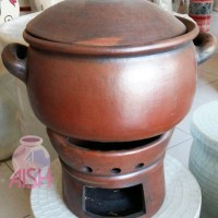 Kuali Panci + Anglo Tungku Tradisional Tembikar Tanah Liat Bakar