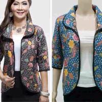 Baju Balero Batik Bolak Balik 01345 Hitam Tosca / Baju Kantor / Blazer