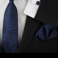 gift set navy! isi dasi panjang, pocket square, cufflinks motif corak