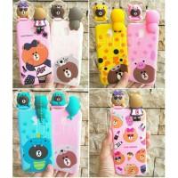 Brown Wannabe Samsung J7 Prime Softcase Boneka 4D Animal Case
