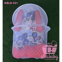Kasur Bayi Lipat Kelambu Set Murah    Karakter Mickey Mouse Polka