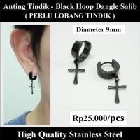 Anting Tindik Cowok Pria - Black Hoop Dangle Salib