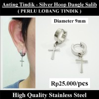 Anting Tindik Cowok Pria - Silver Hoop Dangle Salib