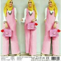 pink abu jumpsuit baju muslim terusan polos jumsuit dress jamsuit gaul