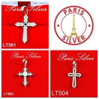 Liontin buah kalung bandul salib besar Silver / Perak 925 lapis emas
