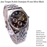 JAM TANGAN ROLEX OYSTER STAINLESS UNISEX LIMIT STOCK SILVER BLACK