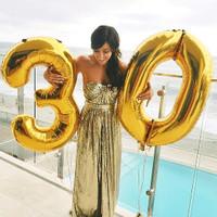 Balon Foil Huruf dan Angka Besar 80cm (Gold, Silver, Pink, Biru) - gold