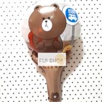 Balon Foil Tongkat / Pentung Model Line Brown