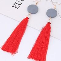 Anting Gantung Elegant Red Tassel Decorated Earrings A50317