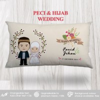 Bantal Custom Text Kado Wedding / Anniversary - Peci & Hijab Wedding
