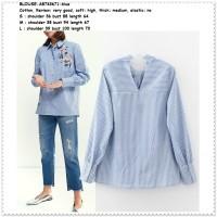 Baju Atasan Kerja Kemeja Biru Garis Blouse Wanita Korea Import Tunik