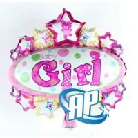 Balon oval baby girl/ balon dekor/ balon souvenir/ baby shower / bayi