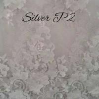 Brokat Brukat Bahan Kain Kebaya Batik Dress Gaun Gamis Silver P2