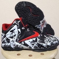 Sepatu Basket Nike Lebron 11 Grafiti Black White Red Hitam Putih Merah