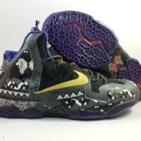 Sepatu Basket Nike Lebron 11 BHM Black White Gold Hitam Ungu Emas