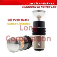 Autovision Hi Power LED Microzen S25 12V 6W Ba15S (Lampu Sein Kuning)