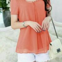 nadia orange blus cantik baju atasan wanita blouse sifon bisa jumbo