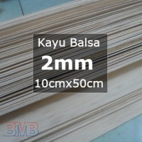 Kayu Balsa 2mm Sheet 10cmx50cm