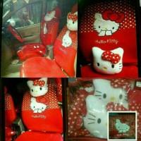 Sarung Jok Mobil Agya/Ayla Motif Helli Kitty Merah Bintik Putih