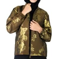 Jaket Coat Wanita Batik Songket Cokelat Gold Aralus Premium Edition