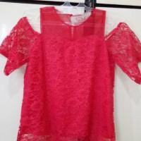 Blouse atasan baju merah imlek lengan bolong lace brukat