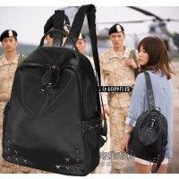 Backpack Nylon + Kulit PU -Tas Ransel Wanita Rock Star Impor Hitam ABG