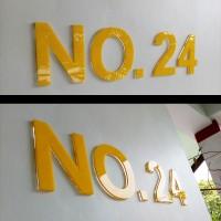 Huruf & Angka Acrylic Timbul 6mm Tinggi 11,5cm Dekorasi Nomor Rumah