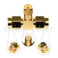 Splitter Konektor T RP SMA Male 2x  Cabang 1 Antena Untuk 2 Modem