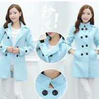 Jaket mantel baju hangat musim dingin wanita korea BABY PINK & BLUE