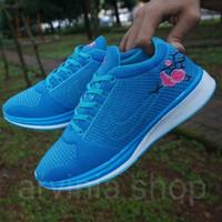 Sepatu casual running nike zoom flower biru tua cewek woman wanita