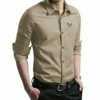 [MYLER KHAKIS] baju kemeja kerja pria kantor slimfit polos warna khaki