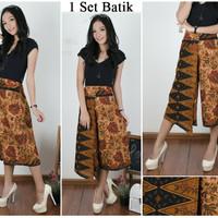 veronika celana kulot layer one side pants batik