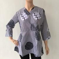 Baju blouse atasan lengan panjang batik cap bola katun primis wanita
