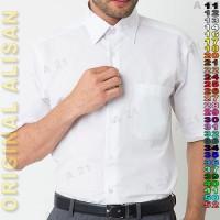 Kemeja Baju Kerja B2-14 Putih Polos Pendek ALISAN ORIGINAL Cowok