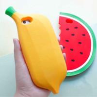 case casing iphone 6 6s banana pisang yellow 3d murah