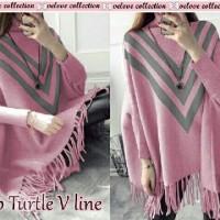 Baru!! tanah abang blouse top turtle v line pink