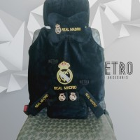 Real Madrid 5 in 1 Bantal Set, Interior Aksesoris Mobil, Cover, tissue