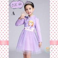 DRESS SOFIA SHANGHAI IMPOR BAJU ANAK KIDS GIRL GAUN PESTA PERGI HADIAH