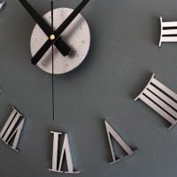 DIY Giant Wall Clock 30-60cm Diameter - ELET00662 / Jam Dinding - Silv